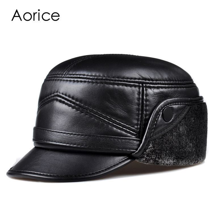 HL162-F Genuine leather baseball cap hat  men's brand new sheepskin leather army  hats caps black with Faux fur inside