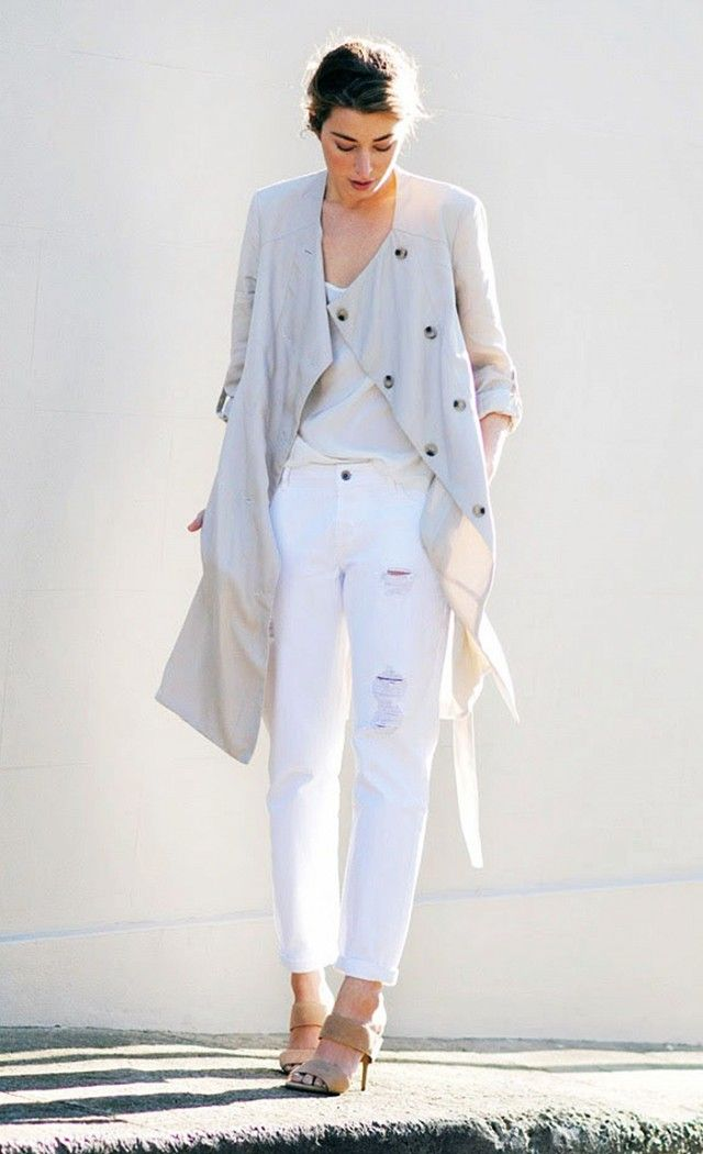 PHOTO CREDIT: The Chronicles of Her On Carmen Hamilton of The Chronicles of Her: Seed Heritage Trench Coat ($188) in Caffe Latte; Seed Heritage Silk Cami ($75) in Porcelain; Seed Heritage Boyfriend Jeans ($84) in White; Seed Heritage Elly Banded Pumps ($150) in Sand