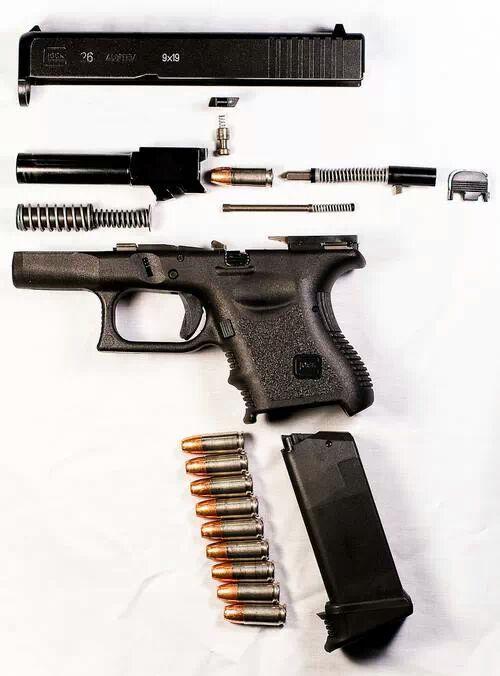 "Glock 26 | I am not a fan of glocks but I like how it shows the ""inner workings"" of it."