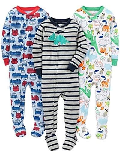 fb27070270d0 Boys  3-Pack Snug Fit Footed Cotton Pajamas