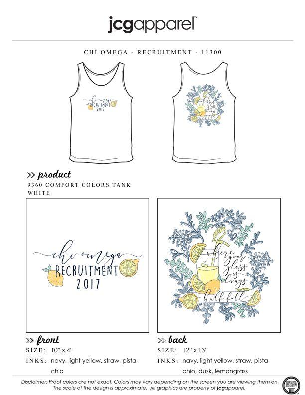JCG Apparel : Custom Printed Apparel : Chi Omega Recruitment T-Shirt #chiomega #chio #xo #recruitment #halffull #lemonade #optimism #handdrawn