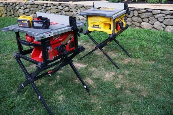 Cordless Jobsite Table Saw Head To Head Jobsite Table Saw Table Saw Craftsman Table Saw