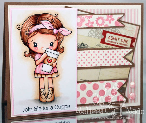 Copic card using the C.C. Designs - Kiki La Rue Latte stamp.  Made by Melissa
