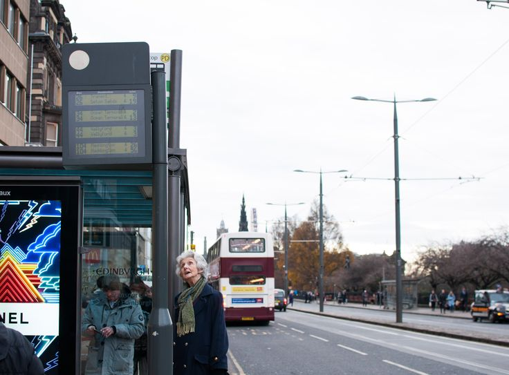 Almost all the bus stops in Edinburgh have a digital screen telling you when the next bus arrives. It has become a necessity now to look at, as it tells you in real time. If a bus stop does not have it, you feel confused and like there is something missing.