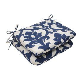 Pillow Perfect Set of 2 Bosco Navy Patio Chair Cushions