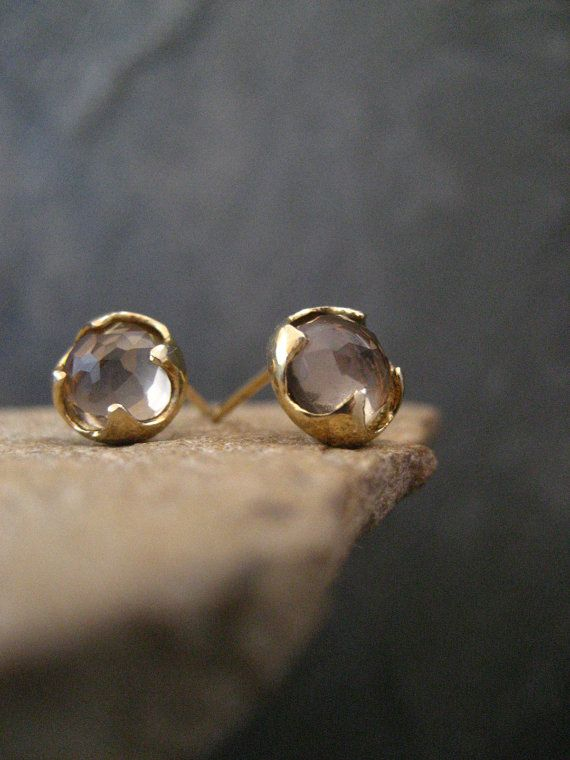 Smoky quartz studs, rose cut studs, round posts, cabochon earrings, gold post