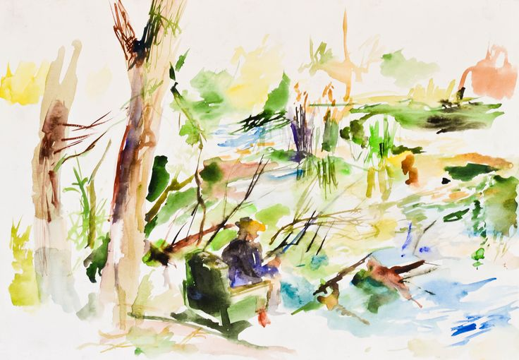 Fisherman, watercolor