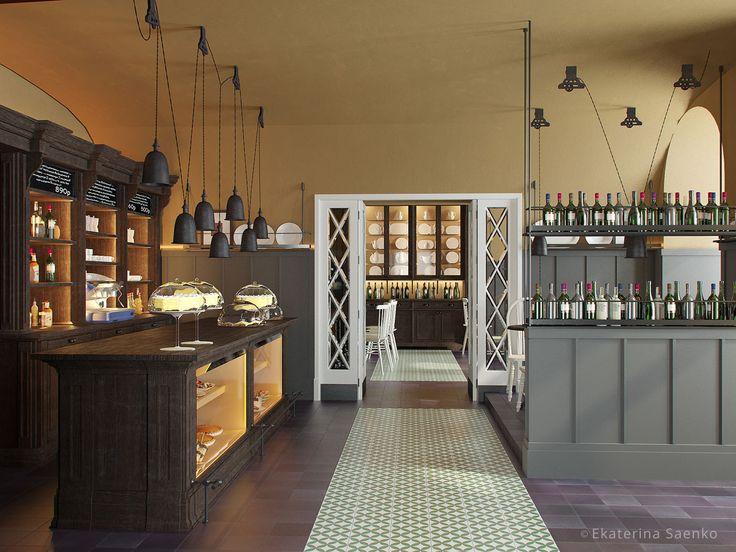 дизайн проект ресторана, интерьер с кондитерской витриной