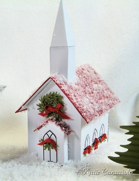 Christmas village made with the Martha Stewart Winter Village templates