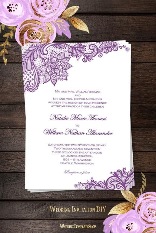 Wedding Invitations Template Vintage Lace Purple #vintageweddinginvitations