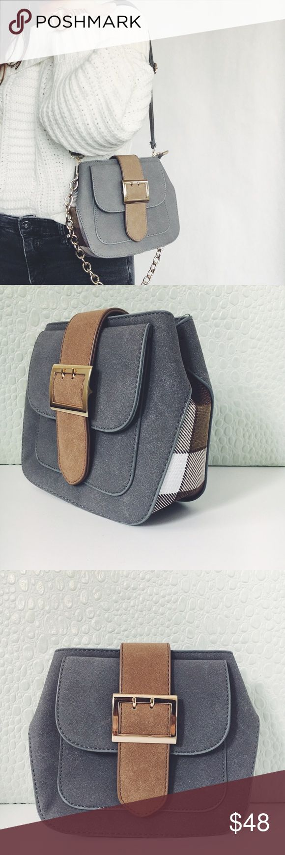 New! Gray & Plaid Vegan Leather Buckle Bag NWT Boutique Item. Such a classic, with a touch of plaid! This is a gray & brown vegan Leather handbag with gold hardware. This cutie features a PU fabric that has a very soft feel, a plaid design on the sides/bottom, Vegan Leather & gold chain link strap, versatile silhouette (crossbody or shoulder), lining, outside Faux pocket (not an actual pocket), and one inside zipper pocket. Measurement: 8.5 x 7 x 3 inches. Material: Vegan Leather, Alloy…