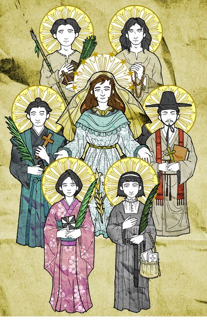Here's a preview of what I've been up to lately. Featuring my latest bunch of asian martyrs artwork! From top counter-clockwise: Saint Pedro Calungsod, Filipino Lay Catechist and Protomartyr; Saint Paul Miki, Japanese Jesuit Scholar; Saint Marina of Omura, Japanese Dominican Tertiary; Saint Magdalene of Nagasaki, Japanese Augustinian Tertiary; and Saint Andrew Kim Taegon, First Korean Catholic Priest, and Saint Lorenzo Ruiz de Manila, another Filipino Lay Missionary.