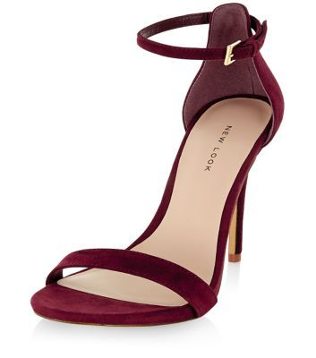 Dark Red Suede Ankle Strap Heels