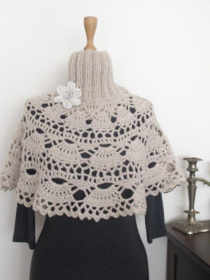 Crochet Turtleneck Capelet