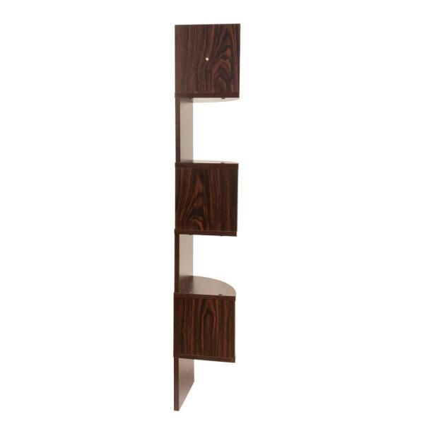 Danya B Zig Zag 7 75 In W X 7 75 In D Floating Laminate Corner Wall Decorative Shelf In Walnut Finish Xf11035wn The Home Depot In 2020 Shelf Decor Corner Wall Shelves