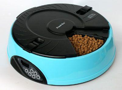 Автоматическая кормушка на 6 кормлений для кошек и мелких пород собак . Цвет голубой. 3450=