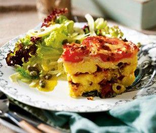 Das Rezept für Parmesan-Polenta-Lasagne mit Oliven und Tomaten und weitere kostenlose Rezepte auf LECKER.de