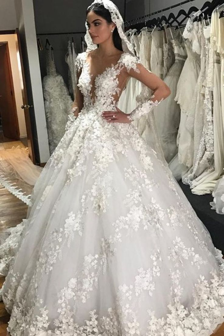 2018 A-Line Scoop Long Sleeves Tulle With Applique Gorgeous Wedding Dresses Chap... 3