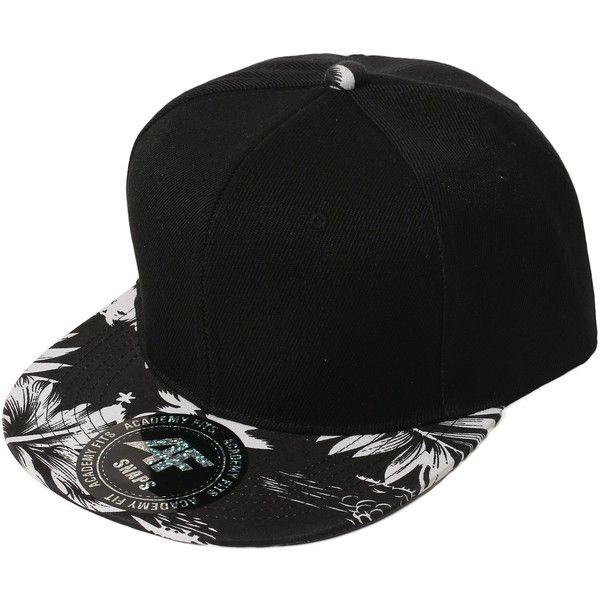 SMITHJAY Hipster Hip-Hop 2 Tone Tropical Leaf Snapback Hat Cap WHITE... ($12) ❤ liked on Polyvore featuring accessories, hats, snap back cap, two tone hat, black white snapback hats, cap snapback and black white snapback