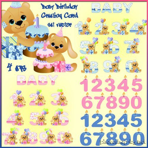 Baby Birthday Greeting Card set vector