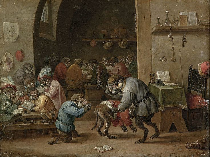 The Singerie: Monkeys acting as Humans in Art | The Public Domain. Apen op School [Monkeys in school ], David Teniers the Younger (brother of Abraham above), circa 1660Review