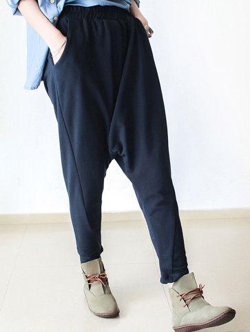 2016 fall Navy cotton pants unique design