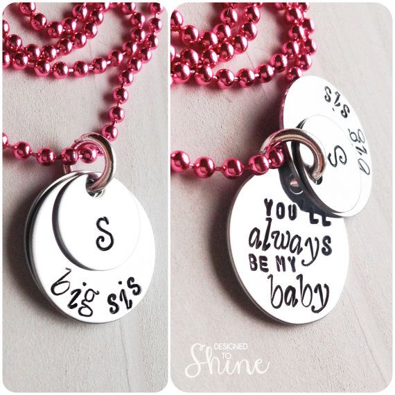 Big Sis Initial Necklace - You'll Always Be My Baby - Big Sister Gift