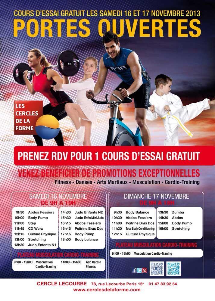 Portes Ouvertes au Cercle Lecourbe le week-end du 15 et 16 Novembre 2013, venez nombreux. Pour plus d'informations http://cerclesdelaforme.com #cdlf #sport #fitness