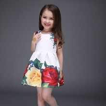 Princesa Dress Girls 2016 nueva moda rosa flor de impresión resorte de los niños sin mangas de la historieta de la ropa de algodón vestido de fiesta(China (Mainland))