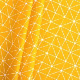 Katoen cretonne met geometrische print op gele achtergrond