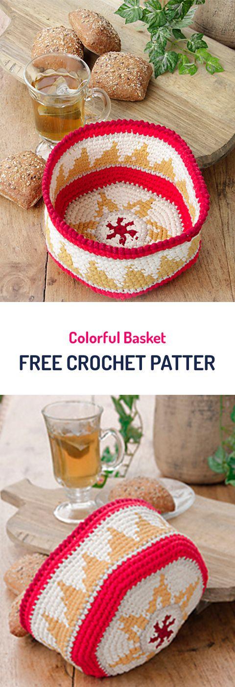 Colorful Basket Free Crochet Pattern #organizer #homedecor #diy #crafts #crochet #yarn
