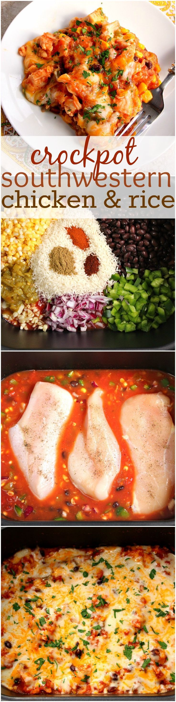 Southwestern Crock-Pot Chicken and Rice recipe – cheesy chicken, vegetable and rice dish made in a slow cooker for an easy weeknight dinner. Peppers, corn, beans and a good mix of spices add a Southwestern flair to a classic. #sponsored #ad