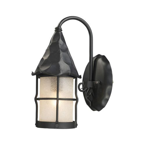 381-BK | Rustica 1 Light Wall Sconce In Matte Black And Scavo Glass - 381-BK