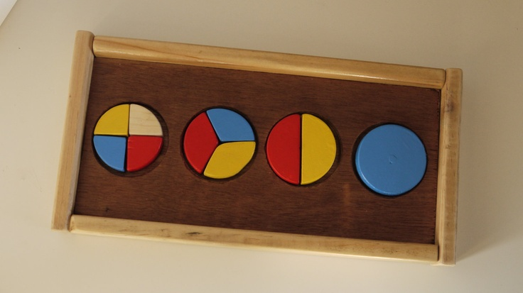 Handcrafted  Wooden Fractions Puzzle.