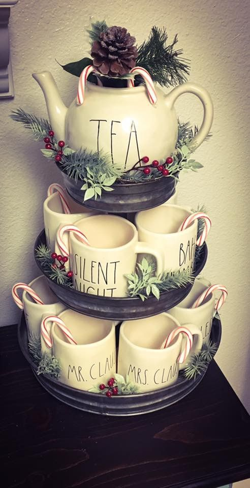 Hobby Lobby 3 Tier Galvanized stand is perfect for my Rae Dunn mug collection, all decked out for Christmas ❤️