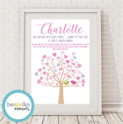 Pastel Tree Christening Print by Bespoke Moments. Worldwide Shipping Available.