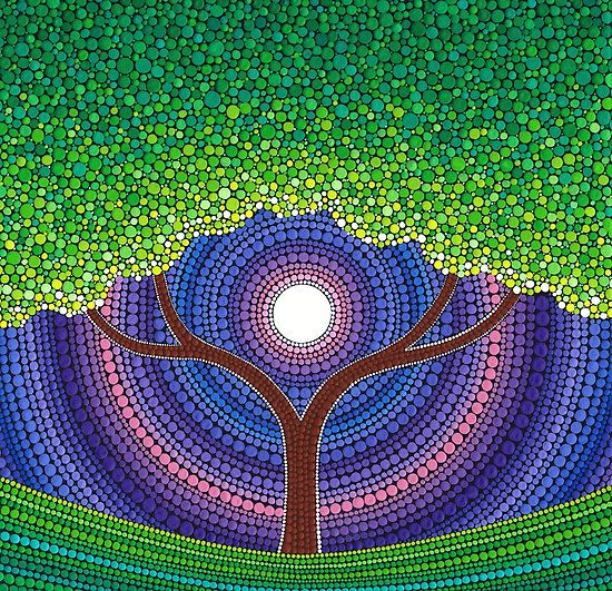 Happy Tree of Life by Elspeth McLean. One of my faves - the leaves just glow.