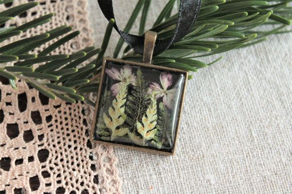 Square botanical pressed flower pendant fern and by Miodunka