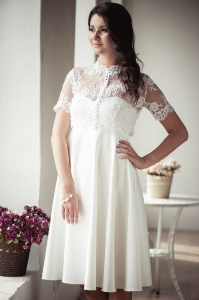 Empire silhouette short wedding dress with lace jacket  M22. $435.00, via Etsy.