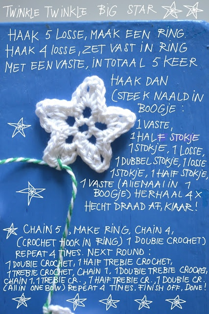 - crochet a star garland - english instructions on lower half