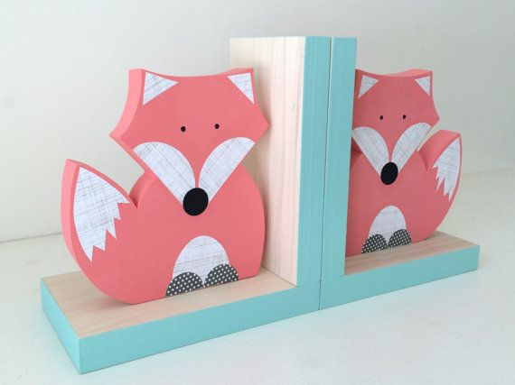 Fox Bookends, Coral Pink and Aqua Blue, Woodland Nursery, Woodland Kids Decor, Fox Nursery, Forest Themed Nursery, eco friendly