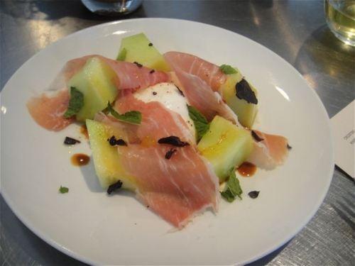 melon, burrata, American proscuitto, opal basil seasoned with fleur de ...