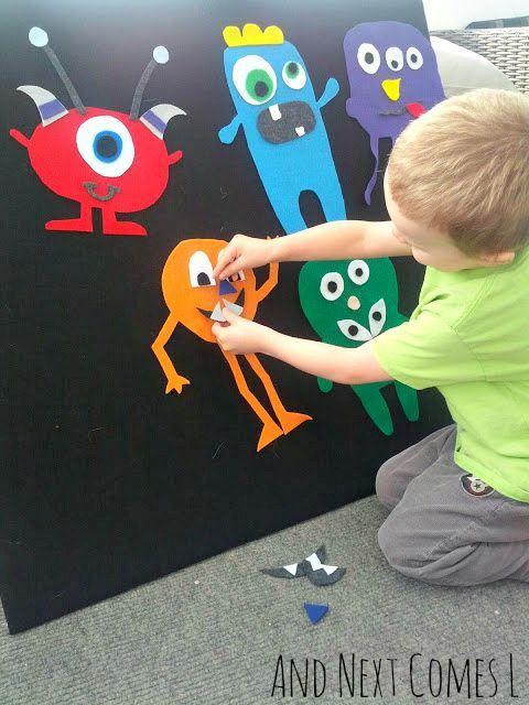 Fun mix and match felt monsters. Great preschool activity!