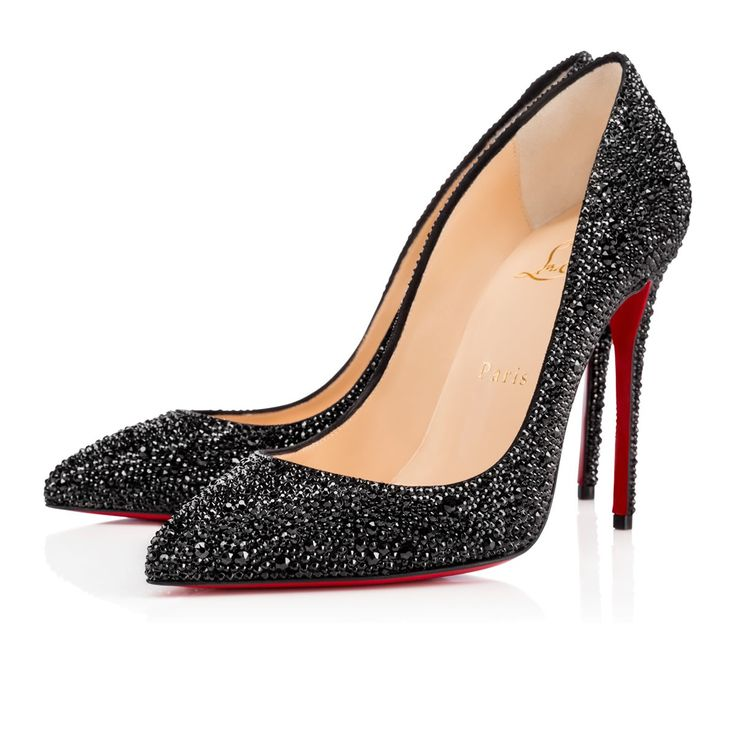 PIGALLE FOLLIES STRASS SUEDE, JET, Strass, Souliers Femme, Louboutin.
