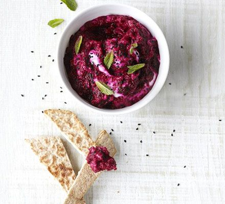 Beet mint dip - filling if you have a couple of pita (freeze the rest) and any spare veggies to dip