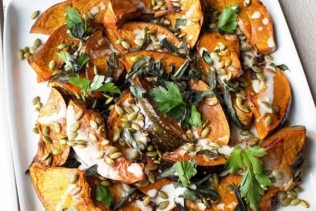 Jessica Sepel's roast pumpkin salad with crispy sage and tahini dressing recipe