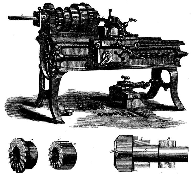 Ruuvien valmistukseen kehitetty sorvi, jossa teräpakka liikkuu ajoruuvin avulla valitulla nopeudella kappaleen pyörimisnopeuden suhteen.  Screw making machine, 1871 - Tekniikan historia – Wikipedia