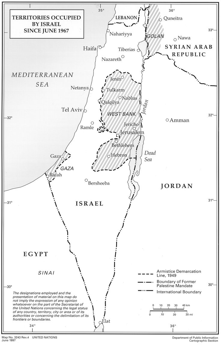 Map of Palestinian, Egyptian, and Syrian lands occupied by