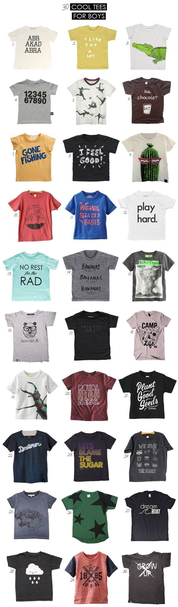 Big list of cool tees for boys