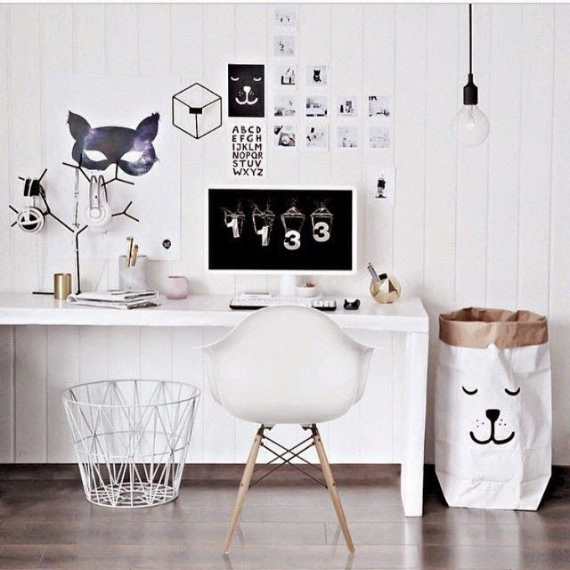 A modern monochrome desk space for a kid